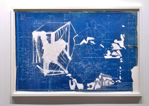 """John Preus. """"Oracle 2,"""" 2014. Mixed media on retired CPS Blueprint, 24 x 35 inches."""