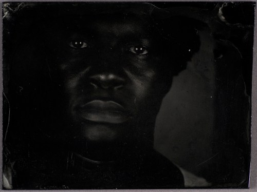 """Myra Greene. """"Untitled (Ref. #07) from Character Recognition,"""" 2006-2007. Black glass ambrotype, 3 x 3 4/5 inches"""