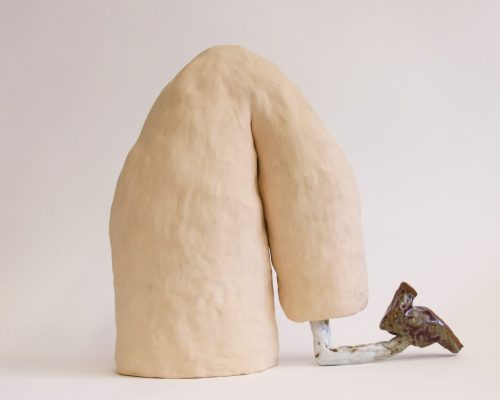 """Lilli Carré. """"Kick ,"""" 2016. Fired and glazed ceramic, 18 x 12 x 7 inches"""