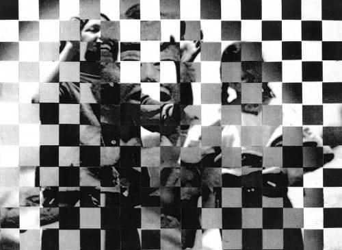 """Maria Gaspar. """"Collaged image derived from: Antonio Turok, 'De la luna de la estrellas de la sol,' N.D., photolithographic postcard, #2002.65, and Anonymous, 'Untitled,' N.D. gelatin silver postcard, #2002.34, National Museum of Mexican Art Permanent Collection, Gifts of Marjorie L. Jackson."""" 2015."""