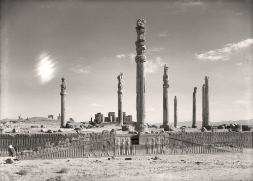 """""""View of the eastern stairway and columns of the Apadana (Audience Hall) at Persepolis, Iran,"""" from """"Persepolis: Images of an Empire,"""" at the Oriental Institute, 2016."""
