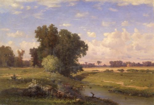 """George Inness (1825-1894). """"Hackensack Meadows, Sunset,"""" 1859. Oil on canvas. The New-York Historical Society."""