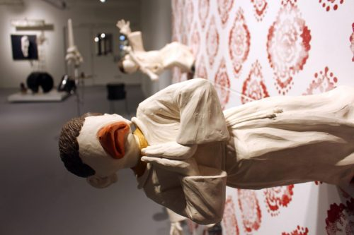 "Rodrigo Lara Zendejas. ""Burghers of El Rayo"" (detail), 2014. Porcelain, oil, glazes, wood and plastic plant on canvas, 112 x 102 x 30 inches"