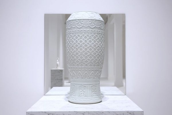 """Carlos Rolón/Dzine, """"Untitled (Fine Regal China #1),"""" Porcelain with carved pattern, 11.8 x 11.8 x 23 inches"""