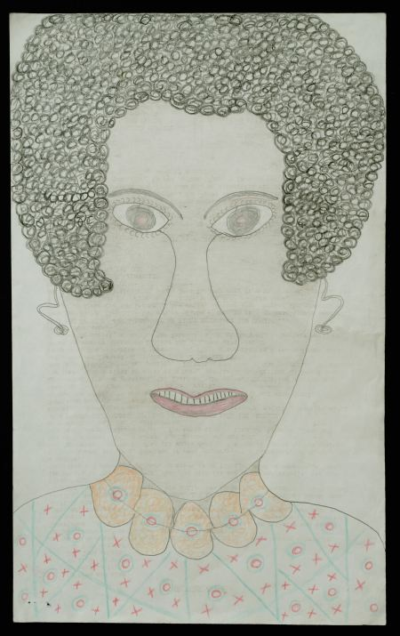 """Inez Nathaniel Walker, """"Untitled (Portrait of woman with necklace)"""" Mixed media on typing paper, 18 1/2 x 13 inches"""