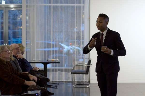 Architect Marshall Brown speaks at the Arts Club, Spring 2016.