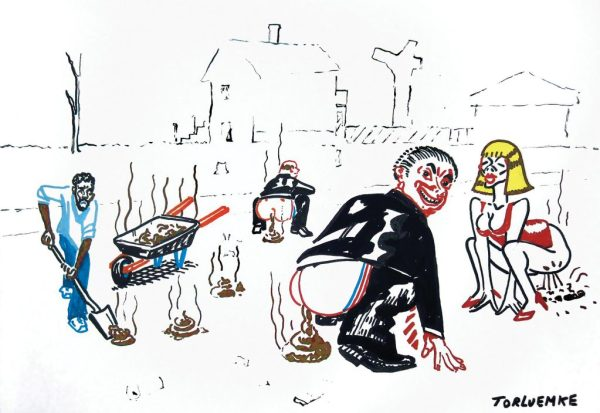 "Tom Torluemke, ""The job creators,"" 2011. Acrylic paint marker on paper, 15 x 22 inches"