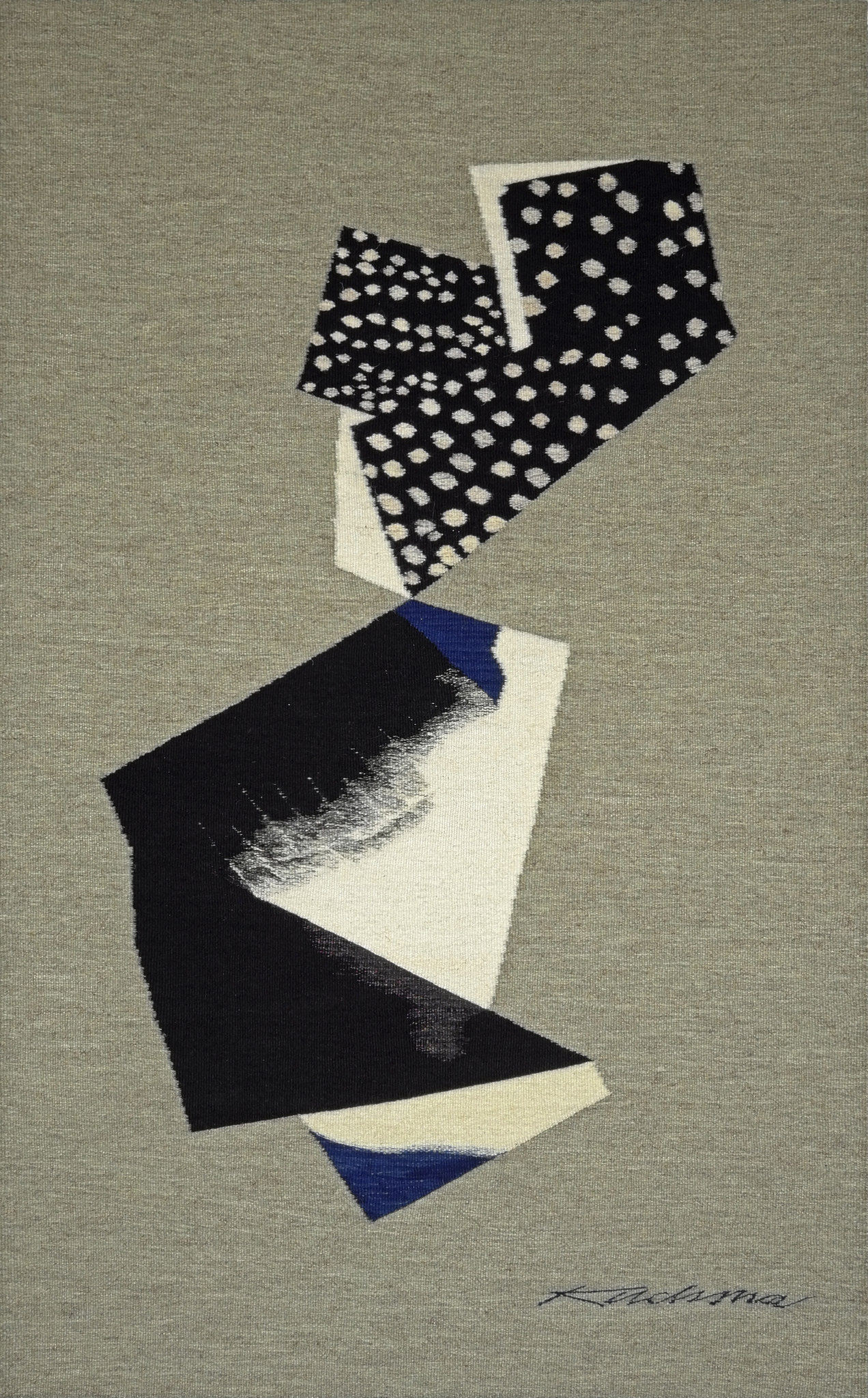"Lialia Kuchma, ""Indigo Study I,"" 2016. Wool tapestry, 54 x 33 ½ inches"