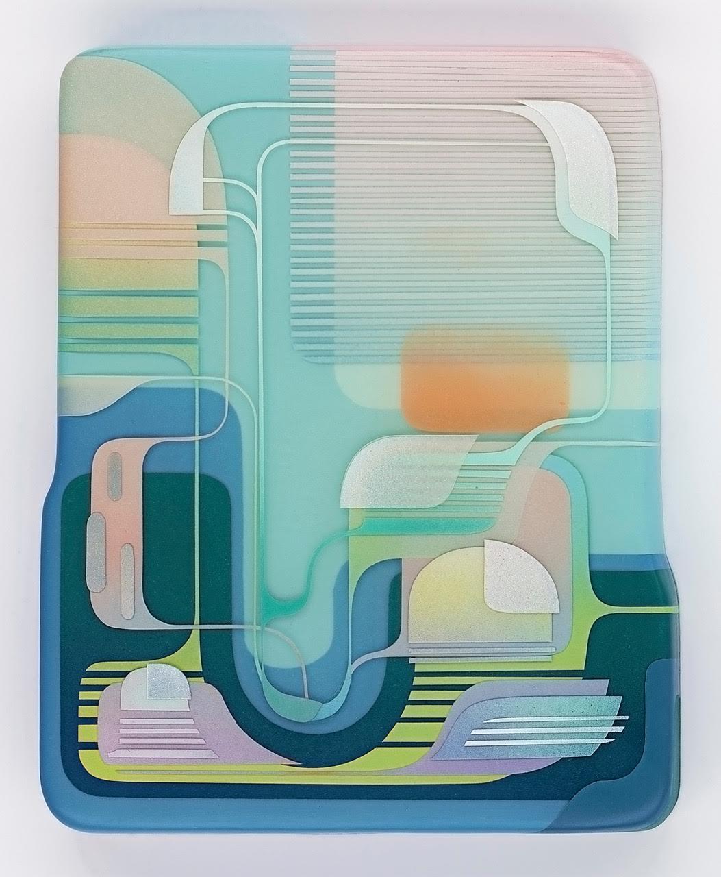 "Francesco Lo Castro, ""Terrapharma,"" 2016. Acrylic, spray enamel and layered epoxy resin on wood, 16 x 20 inches"