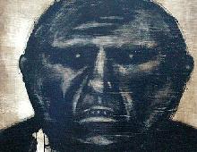 "detail of Warren Croce's painting ""Oil Man"""