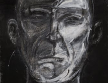 """detail of Warren Croce's painting """"CEO #1"""""""