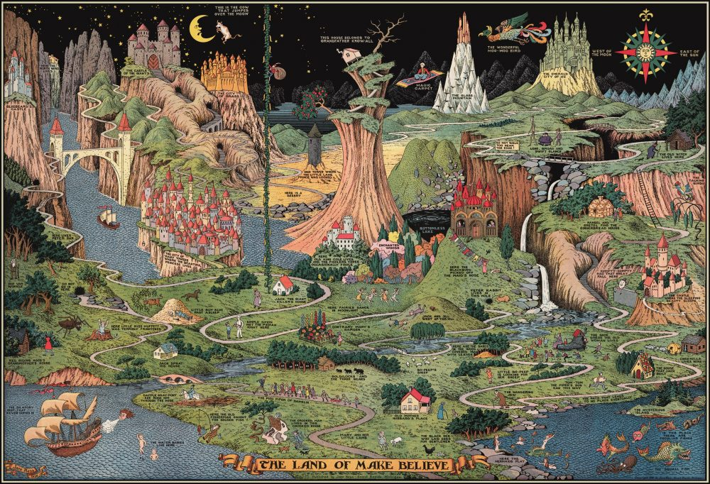 An image showing a landscape from above. The landscape is populated with several characters from children's stories like Jack and Jill, Humpty Dumpty, and Little Red Riding Hood.