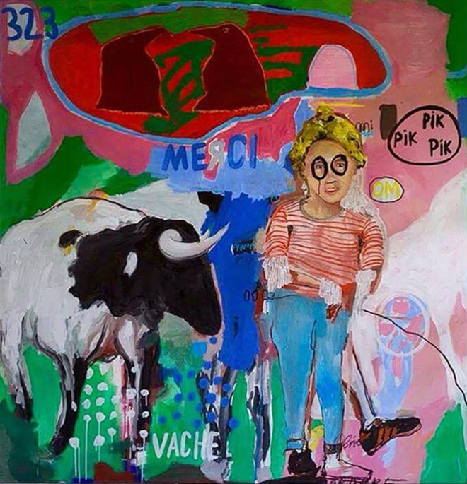 Vache, 176 x 169 cm, Oil and acrylic on canvas, 2016, Image courtesy of Ugo Li