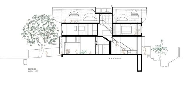 House between a Tree and a Drain, Image courtesy of LInghao Architects