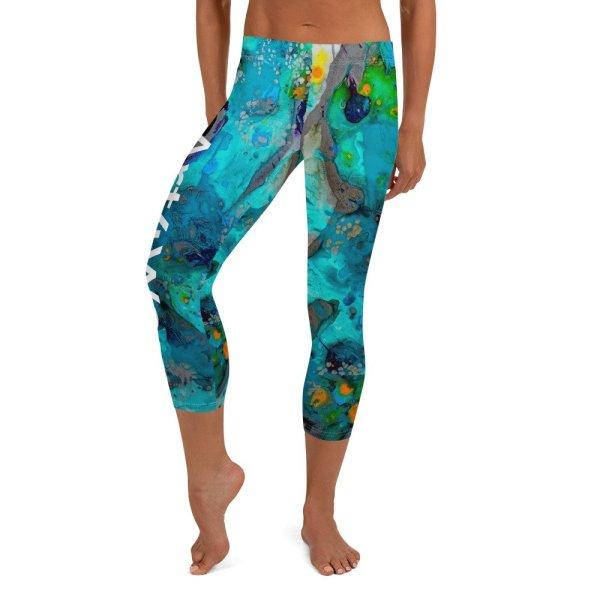 Capri Leggings with Art4Wear logo. Happiness in turquoise