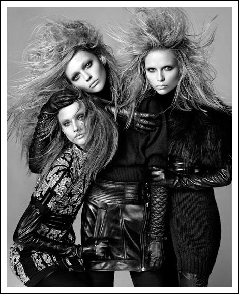 Anna Selezneva, Sasha Pivovarova and Natasha Poly by Steven Meisel