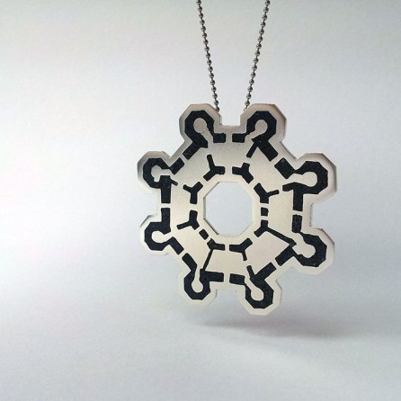 Castel del Monte Floor Plan Pendants with stone inlay and sterling silver, by Naomi Muirhead