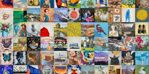 44 diverse pieces of art the same size are side by side. Each piece is different, some landscapes, some portraits, some abstract, and all very colorful.