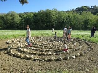 Visitors walk the Labyrinth