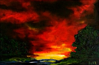 """Sunset 2"" oil on canvas, 20x30 cm. Sold."