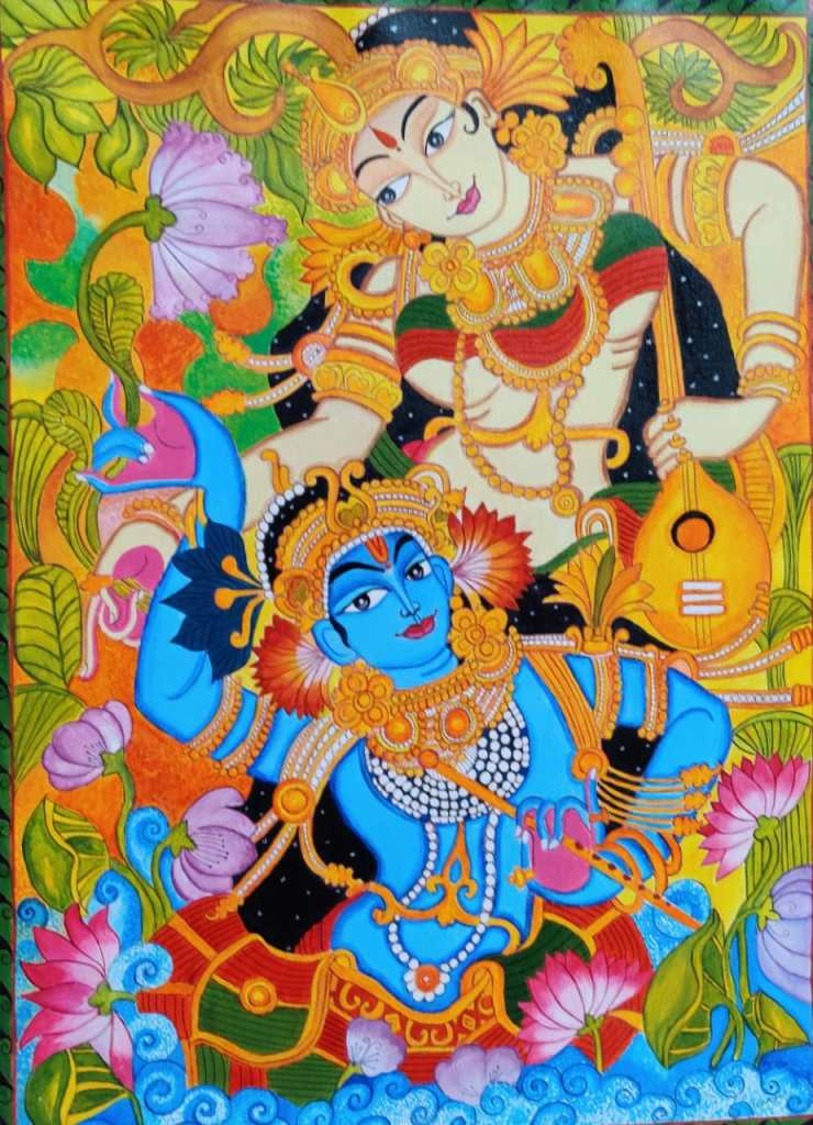 """kerala mural painting on canvas 18 """" * 24"""""""
