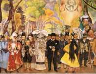 Scene from Rivera's mural Dream of a Sunday Afternoon in Alameda Park, referencing Posada's calaveras.