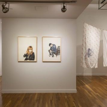 Installation view of Shizu Saldamando's work (SECOND WAVE) Photographs by Nikolay Maslov. Courtesy of UCR ARTSblock.