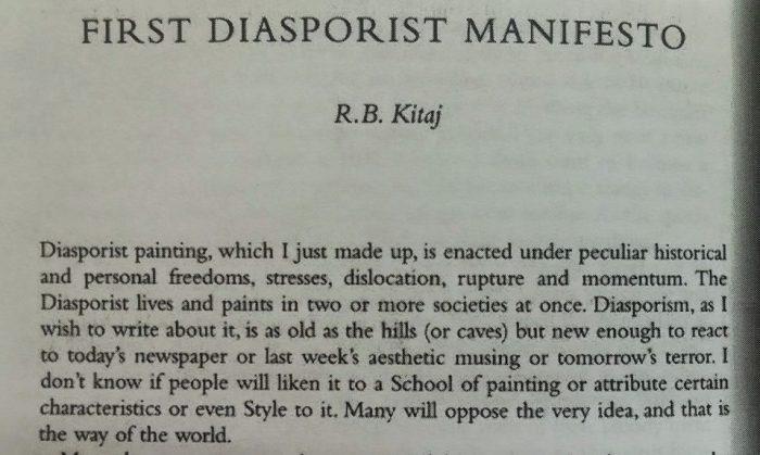 R.B. Kitaj First Diasporist Manifesto. Photo Credit Maja Ružnić