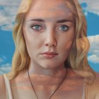 Alex Gross, Detail of Translucence (Katy) Corey Helford Gallery Photo credit- JulieFaith ©2017, All rights reserved.