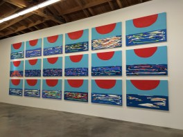 "Sunset (Series) 2016. Wood, casein, acrylic gouache, and aqua resin 38"" H x 54"" W. Sadie Benning. Blinded by the Light. Susanne Vielmetter Los Angeles Projects. Installation View. Photo Credit Jody Zellen."