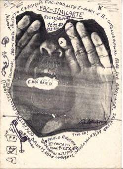 University of San Diego, University Galleries Copyart: Experimental Printmaking in Brazil 1970-1990s. Paulo Bruscky, Facsimil-arte, 1980, photo copy and fax. Photo Courtesy of the Artist.
