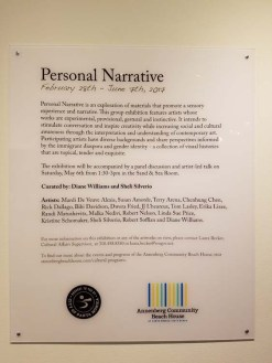 Personal Narrative. Annenberg Community Beach House Gallery. Photo Credit Kristine Schomaker.