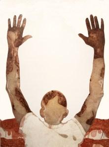 ICONIC: Black Panther. Gregorio Escalante Gallery, Los Angeles, CA. Pilar Agüero-Esparza Ferguson 7: Sepia and Mahogany 2017 Crayon, color pencil on paper. Photo Courtesy of Sepia Collective and The Artist.