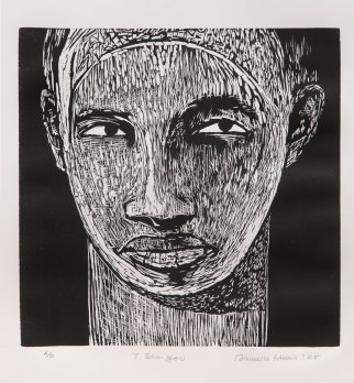 ICONIC: Black Panther. Gregorio Escalante Gallery, Los Angeles, CA. Dr. Samella Lewis I See You 2005 Linocut. Photo Courtesy of Sepia Collective and The Artist.