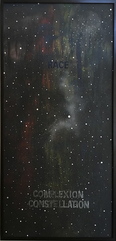 Joe Ray: Complexion Constellation. Diane Rosenstein Gallery. In Space-acrylic and spray paint on canvas-1980-86x40 inches. Photo Courtesy of Diane Rosenstein Gallery.