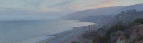 "Palisades North View (Fog at Dusk), 2017 oil on canvas 20 x 65"" . Ann Lofquist. Photo Courtesy of Craig Krull Gallery."
