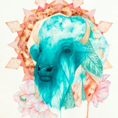 Orion's Lament: Bison bison 2017 Ink and watercolor on Arches paper 24 x 18 inches Courtesy of the artist and Bermudez Projects, Los Angeles