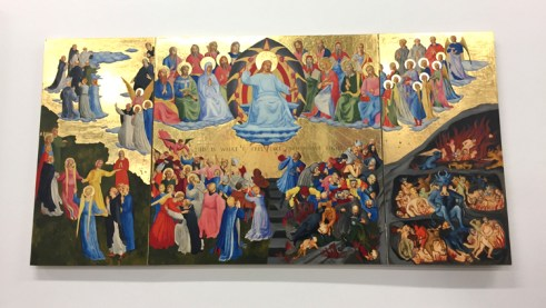 "Christine Wang Couple's Last Judgement (2016) Oil and gold leaf on wood panel, 36""×72"". Supercaliforniagilisticexpialibodcious. Human Resources. Photo Credit Lorraine Heitzman."