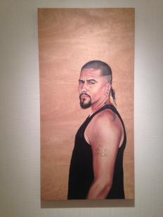 Shizu Saldamando Portrait of Rafa Esparza. TANKAH: De las Tinieblas Hacia el Sol/From The Underworld To The Sun. McNish Gallery at Oxnard College. Photo credit Eve Wood