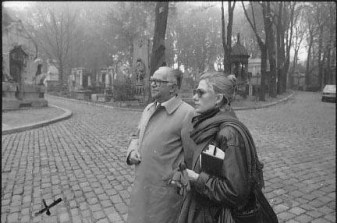 Carolyn Campbell with the late Paul Brault, Head of the Bureau of French Cemeteries. At Père Lachaise Cemetery in Paris- photo by Joe Cornish, 1982.
