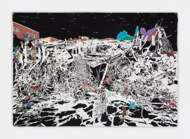 Francesca Gabbiani, Overlook (Belmont Tunnel), 2016-2017, Ink, gouache and colored paper on paper. Photo courtesy of the Gallery.