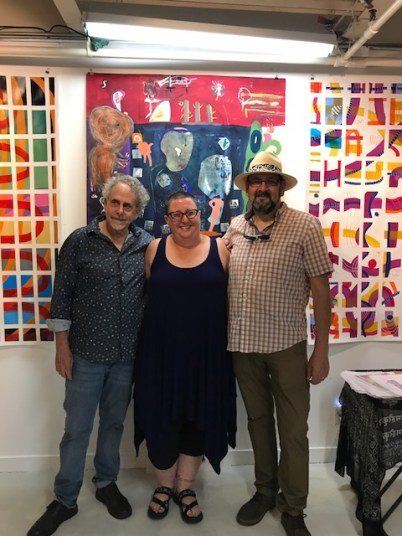 Francisco Alvarado and Robert Soffian at Shoebox Projects with Kristine Schomaker, reception. Photo credit: Genie Davis.
