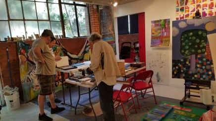 Francisco Alvarado and Robert Soffian at Shoebox Projects, in process. Photo credit: Kristine Schomaker.