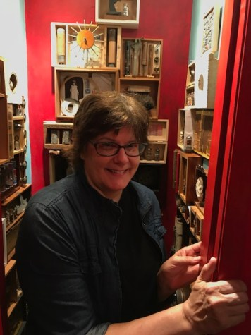 Kate Carvellas and Reliquary for an Assemblage Artist at The Closet in Shoebox Projects. Photo credit: Genie Davis.