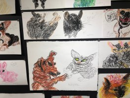Simone Gad, 200 Animal Rescue Drawings, Peace on Earth, MOAH Lancaster; Photo credit Betty Brown