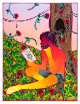 Devan Shimoyama, Roses Are Falling, Punch Curated by Nina Chanel Abney, Jeffrey Deitch; Image courtesy of the artist