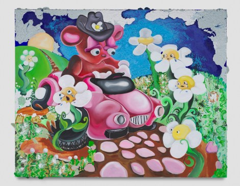 Alake Shilling, Buggy Bear is Out Of Control On The Long and Winding Road, Punch Curated by Nina Chanel Abney, Jeffrey Deitch; Photo credit Elon Schoenholz