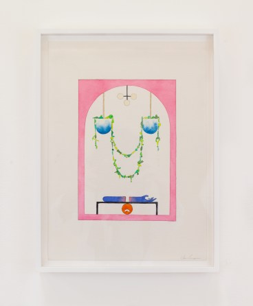 Chris Bogia, Untitled (Pink Archway with Two Draping Planters and Arm), Roommates, Shulamit Nazarian; Image courtesy of the gallery