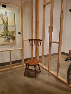 Hilary Norcliffe, Time in Chair, St. Broxville Wood: Into the Thicket, Kellogg University Art Gallery; Photo credit Sydney Walters