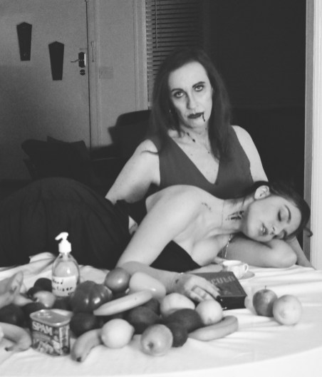 Tarrah von Lintel & Ashley Hepburn, Veggies and Spam are good, but sometimes you just have to go for the jugular. Make up by my favorite victim Eliza Blow; Image courtesy of Tarrah von Lintel